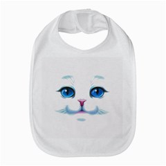 Cute White Cat Blue Eyes Face Bib