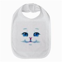 Cute White Cat Blue Eyes Face Bib