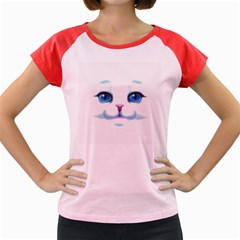 Cute White Cat Blue Eyes Face Women s Cap Sleeve T-Shirt