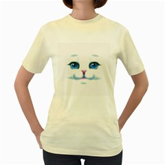 Cute White Cat Blue Eyes Face Women s Yellow T-Shirt