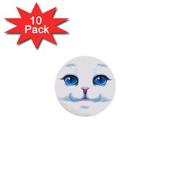 Cute White Cat Blue Eyes Face 1  Mini Buttons (10 pack)