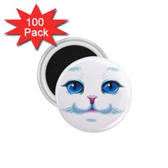 Cute White Cat Blue Eyes Face 1.75  Magnets (100 pack)