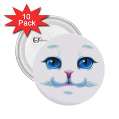 Cute White Cat Blue Eyes Face 2.25  Buttons (10 pack)