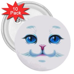 Cute White Cat Blue Eyes Face 3  Buttons (10 pack)
