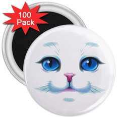 Cute White Cat Blue Eyes Face 3  Magnets (100 pack)