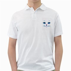 Cute White Cat Blue Eyes Face Golf Shirts