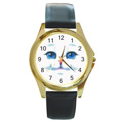 Cute White Cat Blue Eyes Face Round Gold Metal Watch