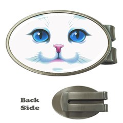 Cute White Cat Blue Eyes Face Money Clips (Oval)