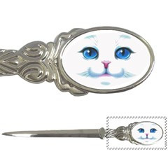Cute White Cat Blue Eyes Face Letter Openers