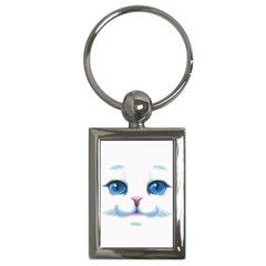Cute White Cat Blue Eyes Face Key Chains (Rectangle)