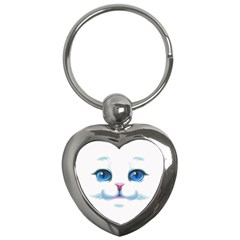 Cute White Cat Blue Eyes Face Key Chains (Heart)