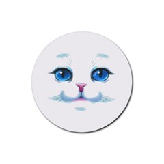 Cute White Cat Blue Eyes Face Rubber Coaster (Round)