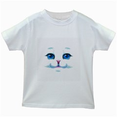 Cute White Cat Blue Eyes Face Kids White T-Shirts