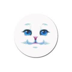 Cute White Cat Blue Eyes Face Magnet 3  (Round)
