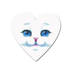 Cute White Cat Blue Eyes Face Heart Magnet