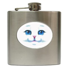 Cute White Cat Blue Eyes Face Hip Flask (6 oz)