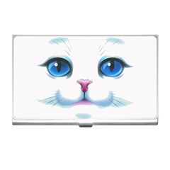 Cute White Cat Blue Eyes Face Business Card Holders