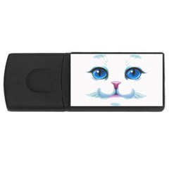 Cute White Cat Blue Eyes Face USB Flash Drive Rectangular (1 GB)