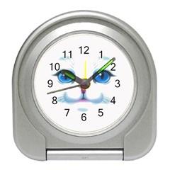 Cute White Cat Blue Eyes Face Travel Alarm Clocks