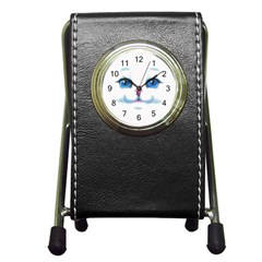 Cute White Cat Blue Eyes Face Pen Holder Desk Clocks