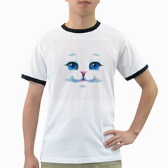 Cute White Cat Blue Eyes Face Ringer T-Shirts