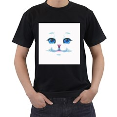 Cute White Cat Blue Eyes Face Men s T-Shirt (Black) (Two Sided)
