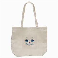 Cute White Cat Blue Eyes Face Tote Bag (Cream)