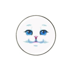 Cute White Cat Blue Eyes Face Hat Clip Ball Marker