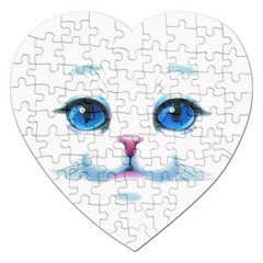 Cute White Cat Blue Eyes Face Jigsaw Puzzle (Heart)
