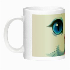 Cute White Cat Blue Eyes Face Night Luminous Mugs