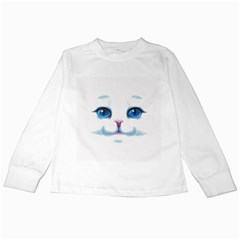 Cute White Cat Blue Eyes Face Kids Long Sleeve T-Shirts