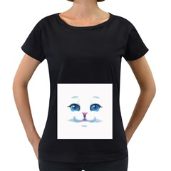 Cute White Cat Blue Eyes Face Women s Loose-Fit T-Shirt (Black)