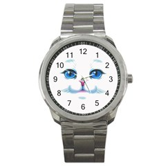Cute White Cat Blue Eyes Face Sport Metal Watch