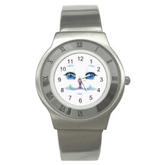 Cute White Cat Blue Eyes Face Stainless Steel Watch