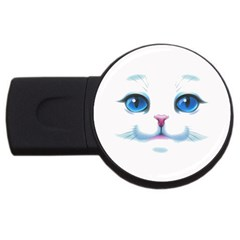 Cute White Cat Blue Eyes Face USB Flash Drive Round (4 GB)