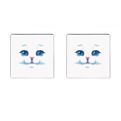 Cute White Cat Blue Eyes Face Cufflinks (Square)