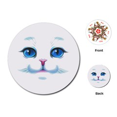 Cute White Cat Blue Eyes Face Playing Cards (Round)