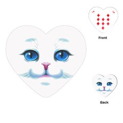 Cute White Cat Blue Eyes Face Playing Cards (Heart)