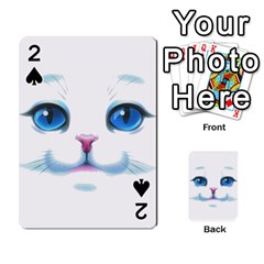 Cute White Cat Blue Eyes Face Playing Cards 54 Designs