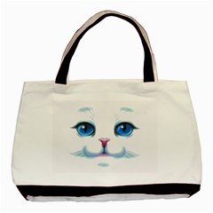Cute White Cat Blue Eyes Face Basic Tote Bag