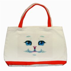Cute White Cat Blue Eyes Face Classic Tote Bag (Red)