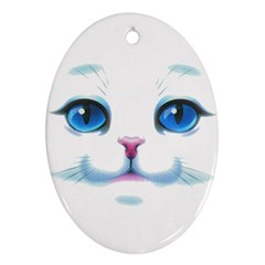 Cute White Cat Blue Eyes Face Oval Ornament (Two Sides)