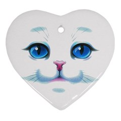 Cute White Cat Blue Eyes Face Heart Ornament (2 Sides)