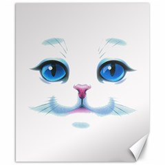 Cute White Cat Blue Eyes Face Canvas 8  x 10