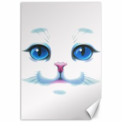 Cute White Cat Blue Eyes Face Canvas 12  x 18
