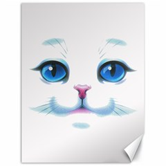 Cute White Cat Blue Eyes Face Canvas 18  x 24