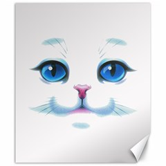 Cute White Cat Blue Eyes Face Canvas 20  x 24
