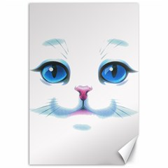 Cute White Cat Blue Eyes Face Canvas 20  x 30