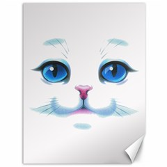 Cute White Cat Blue Eyes Face Canvas 36  x 48