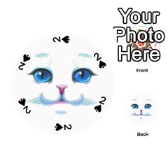 Cute White Cat Blue Eyes Face Playing Cards 54 (Round)